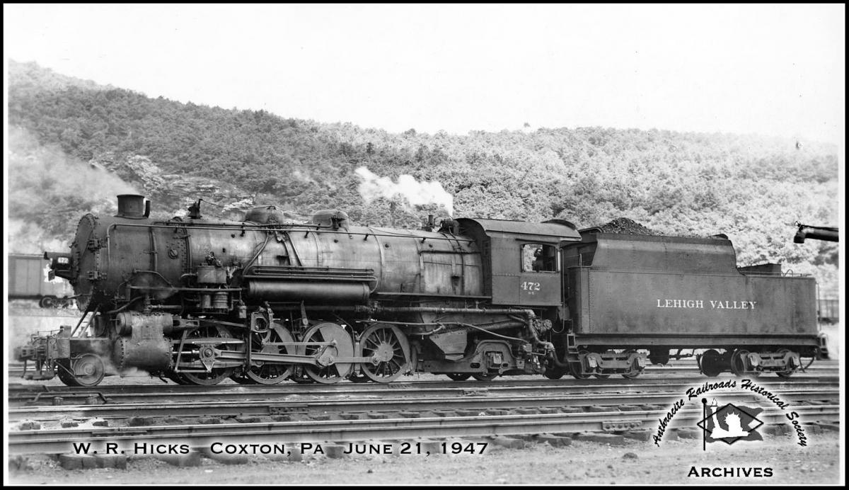 Lehigh Valley ALCO 2-8-2 472 at Coxton, PA - ARHS Digital Archive