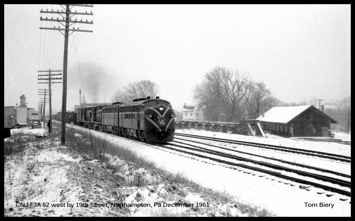 Central Railroad of New Jersey EMD F3A 52 at Northampton, PA - ARHS Digital Archive