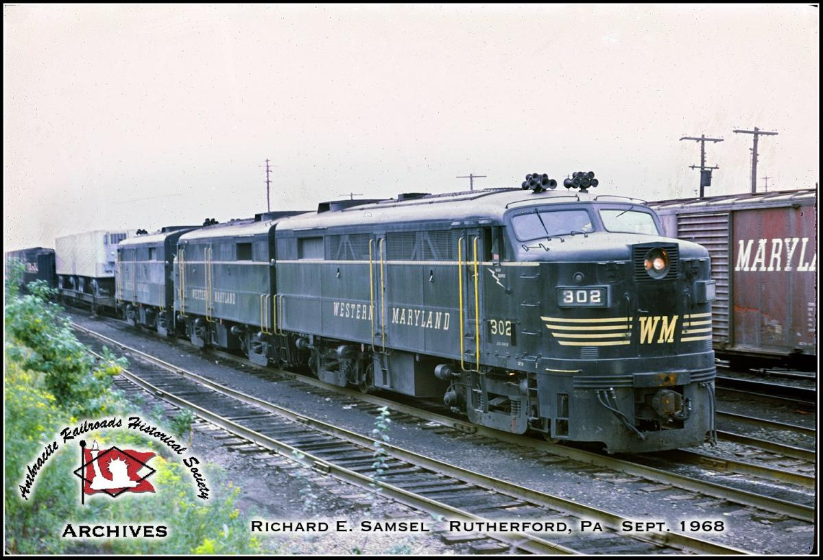 Western Maryland ALCO FA2 302 at Rutherford, PA - ARHS Digital Archive