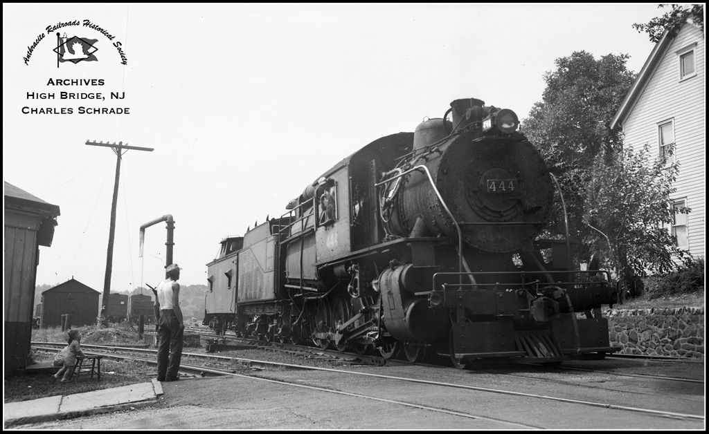 Central Railroad of New Jersey Brooks 4-8-0C 444 at High Bridge, NJ - ARHS Digital Archive